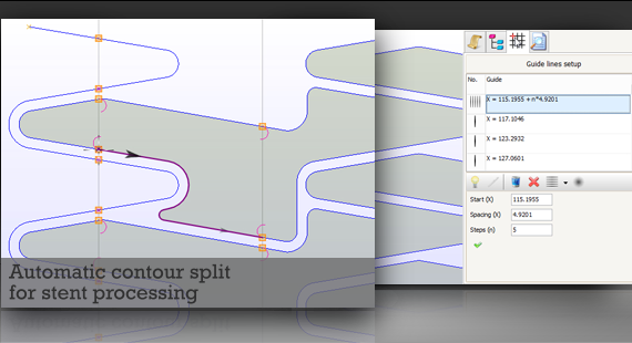 Automatic contour split for stent processing